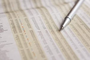 Liste mit Aktienkursen